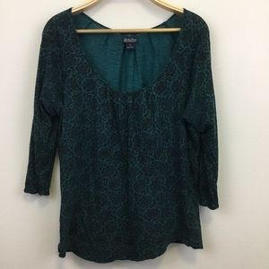 Lucky Brand Scoop Neck Teal Floral Top - XL
